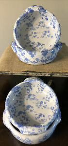 """4 Vintage Bybee Pottery 7"""" Round Baking Dishes w/ Handles blue & white 1967"""