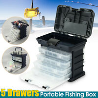 5-Drawer Fishing Tackle Box Plano Lures Storage Tray Bait Case Organizer