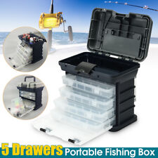 5-Drawer Fishing Tackle Box Plano Lures Storage Tray Bait Case Organizer Tool