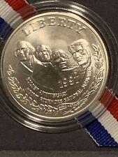1991 Mount Rushmore Commemorative Uncirculated Silver Dollar with Box & COA