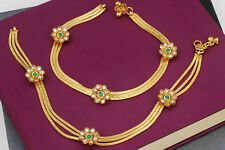 Indian Bollywood Gold Tone Flower Green Anklet Leg Chain Payal Wedding Jewelry