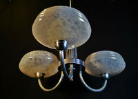 Vintage French Art deco 3 arm chandelier chrome plate, handmade marbled glass