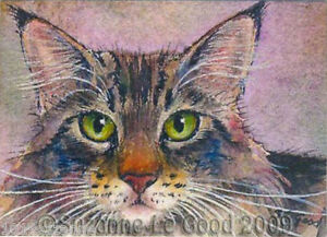 Maine Coon cat ACEO art print mounted from original painting by Suzanne Le Good