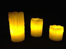 Wachskerzen LED Echtwachskerzen, Kerze Wachs echt 3 er Set flackern Wachskerze