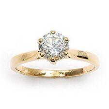Bague T60 Solitaire Diamant Cz 7mm Plaqué OR 18K Laminé 5 Microns Dolly-Bijoux