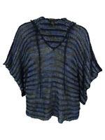 INC International Concepts Women's Hooded Open Knit Sweater S/M, Blue Multi
