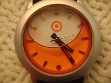 RARE JORG GRAY COLLECTION LIQUID RED BULLS EYE WATCH 3ATM BLK BAND WHITE FACE SS