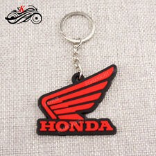 For Honda White Wing Logo Keychain Key Ring Rubber Motorcycle Car Bike Cool