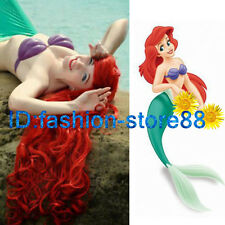 Movie The Little Mermaid Ariel Long Wavy Red Color Cosplay Anime Wig Wigs