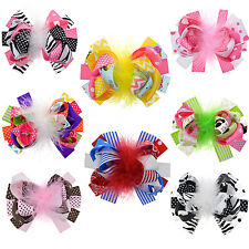 """Multi-layer Boutique Hair Bows Alligator Clips 5"""" For Baby Girls Pack Of 8"""