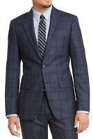 Calvin Klein Mens Suit Jacket Navy Blue Size 40 R Slim Fit Plaid Blazer $450 127