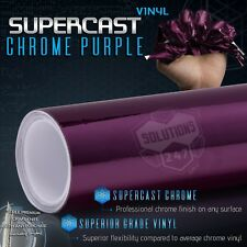 "Purple Supercast Flex Stretch Mirror Chrome Vinyl Wrap Bubble Free 12"" x 60"" In"