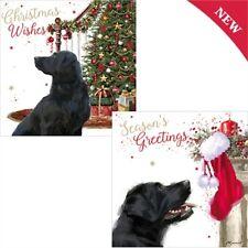 LUXURY Christmas Cards Pack 10 Black Labrador Dog Festive Xmas Tree & Stocking