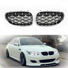 Pair Chrome Front Diamond Kidney Grille For 2003-2010 BMW E60 E61 5 Series