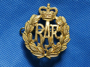 Military Royal Air Force Cap Badge with Lugs - RAF - Queens Crown