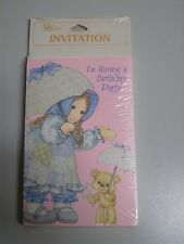 Birthday Party Invitations Vintage Holly Hobbie Parasol Bear Laurel Sealed NOS