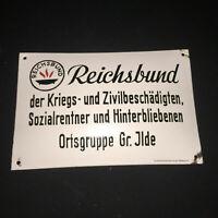 Reichsbund Ortsgruppe Talla Ilde - Cartel Esmaltado 19,5 X 29,7CM - Di. Um 1950