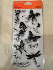 Clear Acrylic Stamp Set by Fiskars Butterfly Magic Card Sentiments 01-005524 NEW