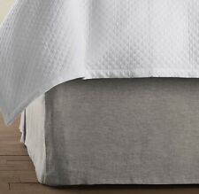 Restoration Hardware Vintage Washed Belgian Linen Twin Bed Skirt Graphite Gray