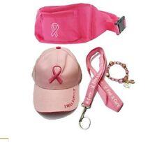Pink Breast Cancer Awareness Baseball Cap Hat Lanyard, Fanny Pack, Bracelet Gift