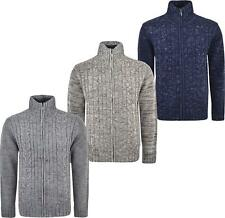 Mens Knitted Jumper Zipper Cardigan Cable Knitted Long Sleeves Winter Warm