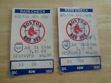 2 JULY 11,1986 Boston Red Sox Game RESERVED $8.00 Ticket Stub