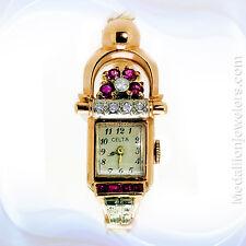 "Vintage ""Retro""14K Rose Gold  Diamond & Ruby Ladies watch"