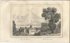 Stampa antica GOLFO di NAPOLI e VESUVIO panorama 1835 Old antique print