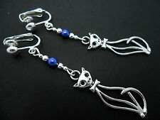 A PAIR OF TIBETAN SILVER  AND BLUE BEAD CAT CLIP ON EARRINGS. NEW.