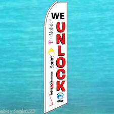 WE UNLOCK FLUTTER FEATHER FLAG Cell Phone Advertising Sign Swooper Banner 1458