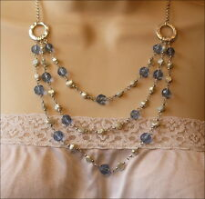 SALE Clear Blue Faceted Beads Pearl Beads Layered Necklace Set