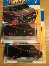 Hot Wheels 2011 #39 FIRST EDITION NEW MODELS PREMIERE A TEAM GMC VAN Lot Of 2