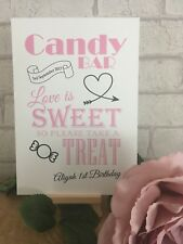 Coral Pink Candy Buffet Cart Sweets Personalised Wedding Sign