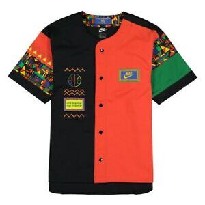 NIke Men's Reissue Short Sleeve Top Peace Raid Retro Button Jersey CU4205-010