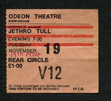 Original 1974 Jethro Tull concert ticket stub Birmingham UK War Child Bungle