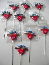 BLUEBIRDS KISSING ON BRANCH LOT OF 10 PC NEW  I LOVE YOU VALENTINES CRAFT PICK