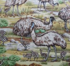 Australian Emu Bird Chicks Outback Gum Trees Rock Fabric Quilting Craft FQ Metre