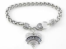 Dance Mom Clear Crystal Heart Silver Bracelet Jewelry Ballet Dancer Drill Team