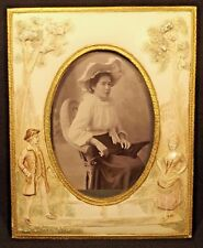 C1905 ANTIQUE EMBOSSED CELLULOID PICTURE FRAME & ORIG PHOTOGRAPH ADELAIDE SA
