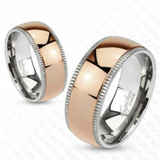 Solid Titanium Rose Gold Stripe Fancy Milgrained Band Ring Size 5-13