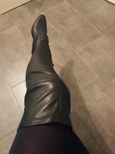Overkneestiefel Leather Schwarz Boots Crotch Schwarz NEU
