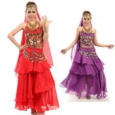 Belly Dance Costume 3pcs Set Sequins Bead Bell Top Bra Skirt Hip Scarf Gold Coin