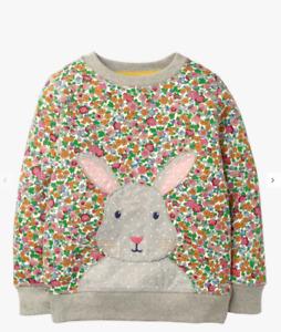 Mini Boden Girls' Floral Bunny Applique Snuggly Sweatshirt, Multi RRP £28
