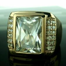 Plated Copper Zircon wedding Ring Size8-12 Fashion Jewelry Men's 18K Yellow Gold
