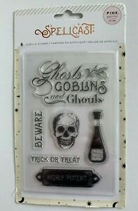 Pink Paislee Spellcast 6 Piece Stamp Set Potions Ghost Goblins Ghous