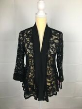 R & M Richards Black Lace Sequined Formal Light Jacket Sz S USA Made $58 NWT