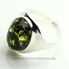 GREEN BALTIC AMBER 925 STERLING SILVER RING SIZE 6