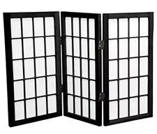2' Tall Black Oriental Furniture Desktop Window 3 Pane Shoji Screen