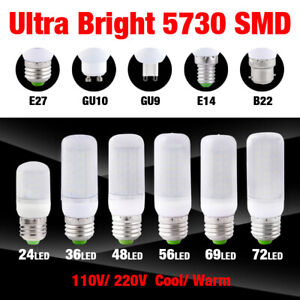 E14 E27 GU10 B22 G9 LED Lights Brightly Corn Bulb Lamps 5730 SMD 110V/220V 7-25W