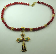 Statement Red Jade Necklace  Filigree Cross  Garnet  Sterling Silver Vermeil